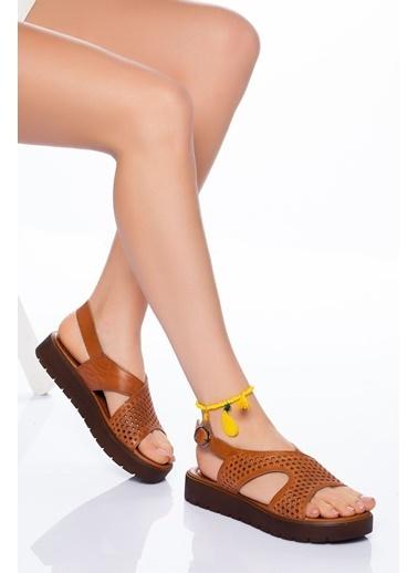 Derithy Hakiki Deri Sandalet Taba